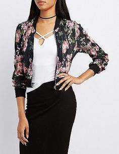 $14.99 Floral Micro Pleated Bomber Jacket