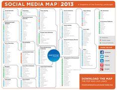 Social Media Map 2013 (by http://www.ovrdrv.com/Ovrdrv/social-media-map/)