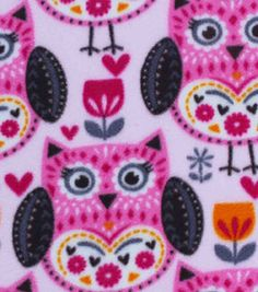 Anti-Pill Fleece Fabric-Folkster Owl
