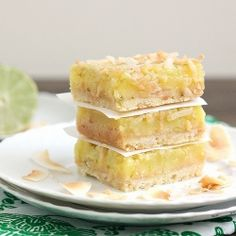 Coconut Lime Squares - a tart and tangy summer dessert idea! #foodgawker