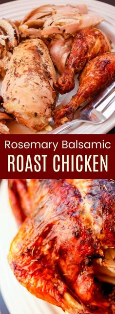 Rosemary Balsamic Roast Chicken - this roasted chicken recipe is an easy way to add tons of flavor to a favorite comfort food. Naturally gluten-free, low carb, and paleo too. #cupcakesandkalechips #chicken #chickendinner #roastchicken #lowcarb #glutenfree #paleo #whole30 #whole30compliant #chickenrecipes #balsamicvinegar