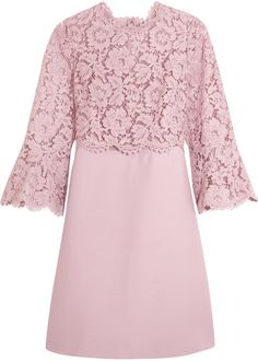 Valentino Bell-sleeve corded lace and crepe mini dress