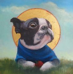 """Gordon MacDonald """"Saint Poopee, Patron Saint of Strawberries"""" 10"""" x 10"""" $825 now at Argyle Fine Art! #bostonterrier"""
