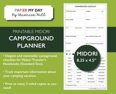 Midori Traveler's Notebook Camping Journal - Midori TN Inserts - Midori Printables (3.75 USD) by PapierMyDay