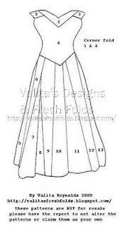 Valita's Designs & Fresh Folds: Fancy Dress Corner Fold / pattern & Video Tutorial