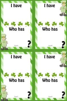 """""""I Have, Who Has"""" St. Patrick's Day Game Templates - FREE - FlapJack Educational Resources - TeachersPayTeachers.com"""