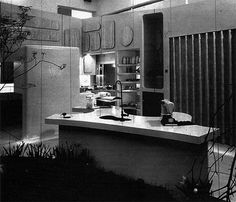 The photos and excerpts below are featured in the book Fifties Source Book and highlight the Kitchen of the Future built for the 1956 Daily Mail Ideal Home Exhibition. Double Vanity, Future House, Ideal Home, Mirror, Design, Home Decor, Daily Mail, Geo, Arch