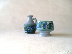 Vintage Strehla ceramic krug vase and bowl with ice blue turquois and green decor, Mid Century Modern East Germany by Cherryforest on Etsy