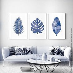 Palm Leaf Art Print Monstera Print Navy Blue Botanical Print