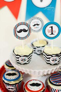 Little Man Party Cupcake Wrappers $5.00 #littleman #mustachebash