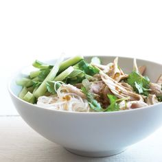 Keep your cool in the kitchen with this no-cook noodle salad. The star of this recipe is the Vietnamese-style sauce, with ginger, garlic, jalapeno, rice vinegar, and sugar.