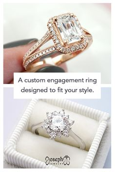 Our designers will work with you to create a truly unique engagement ring! We work with diamonds, lab diamonds, moissanite, rose gold, platinum, sapphire, and more. Tap to begin! Rose Gold Engagement Ring, Designer Engagement Rings, Wedding Stuff, Dream Wedding, Wedding Rings, Wedding Inspiration, Wedding Ideas, Proposal Ideas, Womens Wedding Bands