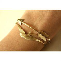 Gold Arrow and Bird Bracelets
