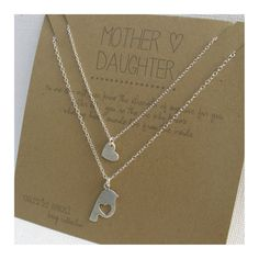 Mother Daughter Necklace Set - sterling silver - bird silhouette - heart charm - mommy - mother daughter jewelry - quote card on Etsy, $80.00