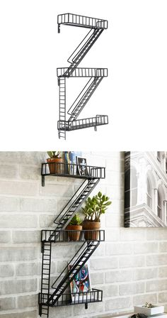 Wall art that doubles as storage? Sure, why not! Epoxy-coated steel has been welded by hand to create this hanging industrial shelving piece. Imitating the familiar form of a fire escape, some of its a...  Find the Book-Escape Wall Shelves, as seen in the 200 Designs We Love Collection at http://dotandbo.com/collections/200-designs-we-love?utm_source=pinterest&utm_medium=organic&db_sku=DIM0119
