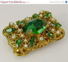 #vintage Victorian Revival Green Rhinestone Brooch #jewelry #ecochic by jujubee1 on Etsy