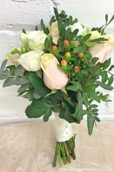 All White Akito Rose Hand Tied Bridal Bouquet Side View Wedding Flowers Liverpool Merseyside Florist Booker And Gifts