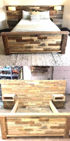 Wunderbare Holzpaletten-Bettprojekte Wonderful wooden pallet bed projects, Related posts: DIY Pallet Projects {The BEST Reclaimed Wood Upcycle Ideas} 150 Best DIY Pallet Projects and Pallet Furniture Ideas Diy Pallet Bed, Wooden Pallet Projects, Wooden Pallet Furniture, Diy Furniture, Wooden Pallets, Pallet Wood Bed Frame, Wooden Bed Frame Diy, Pallet House, Diy Wooden Headboard