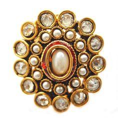 Maayra Golden White Ethnic Finger Ring