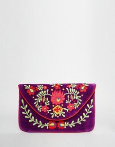 Moyna Velvet Envelope Clutch Bag With Embroidery