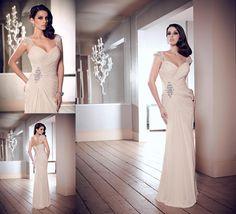 2014 New Cap Sleeve Custom Beaded Wedding Gown Mermaid Long Prom Evening Dresses #Unbranded #Mermaid #Formal