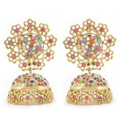Rasvihar Navratna Series Jhumki - Cast a spell with these navratna jhumkis! The open cut floral motifs ensure that the effect is that of a rich, yet delicate ensemble of gemstones – rubies, emeralds, yellow, orange and blue sapphires, coral, pearls and diamonds – each carefully placed to complement the others.
