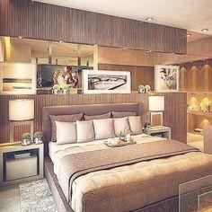 """""""Que tal esse quarto do casal com painel ripadinho??! #decore #design #decoração #interiores #iluminação #instadecorando #ambientes #quarto #suitedocasal"""""""