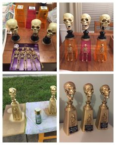 Halloween costume contest trophies made from dollar store items. – Karen Governale Halloween costume contest trophies made from dollar store items. Halloween costume contest trophies made from dollar store items. Spooky Halloween, Disney Halloween, Diy Halloween Party, Halloween Trophies, Hallowen Costume, Dollar Store Halloween, Halloween Costume Contest, Halloween Birthday, Diy Halloween Decorations