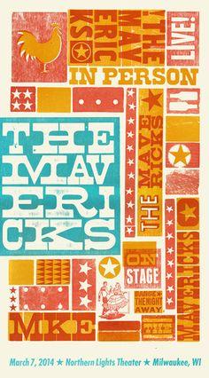 The Mavericks, 4-color letterpress show poster, 2014