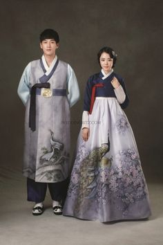 Korean traditional clothes, the girl is wearing a hanbok here with a lovely crossed bodice and peacock print on the skirt Korean Traditional Dress, Traditional Fashion, Traditional Dresses, Traditional Wedding, Korean Hanbok, Korean Dress, Korean Outfits, Korean Fashion Trends, Asian Fashion