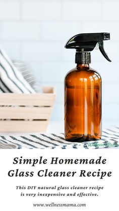 This DIY natural glass cleaner recipe is very inexpensive and effective. It works on glass and smooth surfaces and only needs three ingredients! #nontoxichome #naturalhome #diycleaningrecipes #diyrecipes #wellnessmamarecipes #vinegarrecipes #motherhood #glasscleaner #lifestyledetox Natural Cleaning Recipes, Homemade Cleaning Products, House Cleaning Tips, Natural Cleaning Products, Cleaning Hacks, Household Products, Household Tips, Diy Cleaners, Cleaners Homemade