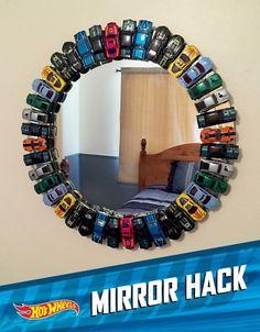 DIY Hot wheels mirror for a boys room! DIY Hot wheels mirror for a boys room!