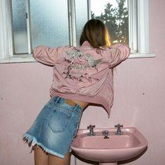 Pink Bomber Jacket, Denim Skirt