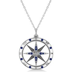Allurez Compass Pendant Blue Sapphire & Diamond Accented 14k White... ($650) ❤ liked on Polyvore featuring jewelry, pendants, necklaces, pendant necklaces, chain pendants, white gold jewellery, blue sapphire jewelry and white gold pendant necklace