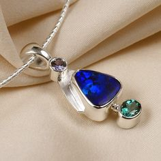 Sapphire Opal Tourmaline Pendant Necklace in Sterling Silver