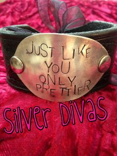 Just like you vintage spoon and recycled western belt bracelet $30. Find us on Facebook!