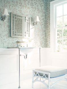Soft blue Thibaut wallpaper with vine design