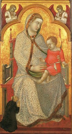 Pietro Lorenzetti ~ Virgin and Child Enthroned with Donor and Angels, c.1320