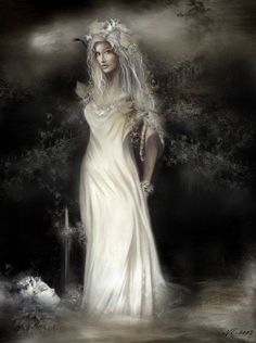 Bean SidheThe Irish Banshee, the female who wails before the death of members of certain ancient aristocratic Irish families.If the sound of several Banshees is hard simultaneously, the soul of a great of holy person is passing over.