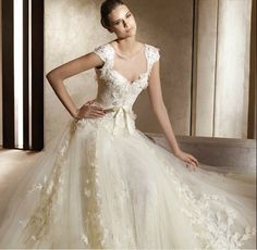 Online Sale Cap Style Sleeves V-Neck Appliques Gauze Satin Wedding Dresses (F2012DWD-097)