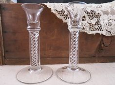 Air Twist Stem Glass Candle Holders Stunning Glass by WrensAttic