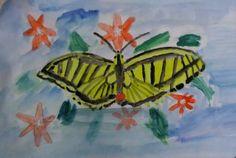 luonto piirustus kuvia: Ritariperhonen kesäisen aika lentä kukkan alta