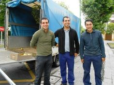 The three young men who came to remove the plants, from left: Javier Uribarri, Asier Larrabe and Ernesto Guzman.