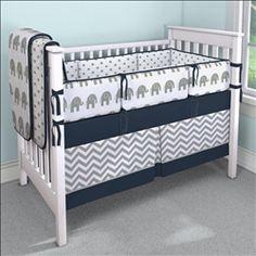 Navy and Gray Elephants Crib Bedding | Carousel Designs