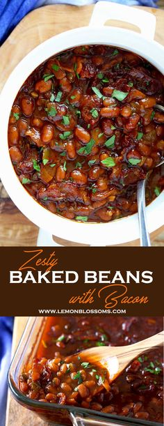 Savory, sweet, thick and hearty, these baked beans with bacon are perfectly seasoned, baked to perfection and with a few shortcuts incredibly easy to make! The perfect side dish for your next dinner, BBQ or gathering! via @https://www.pinterest.com/lmnblossoms/