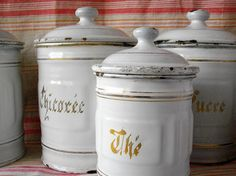 These vintage French canisters are part of one of my treasuries on Etsy.  Go there! Click it! Favorite it!    http://www.etsy.com/treasury/ODQ3OTE3NXwyNjE5NTQ4NDE2/paris-is-always-a-good-idea