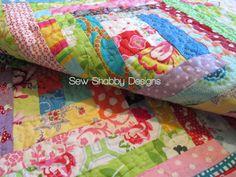 scrappy log cabin quilt #sewshabbydesigns
