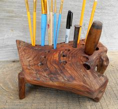 Large Driftwood Pencil Holder Cedar Natural wood by bearpawrustics
