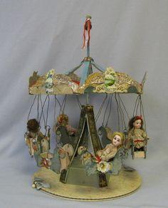 """16"""" Early Folk Art Key Wind Toy Carousel Four 5"""" All-Original c1900 DOLLS"""