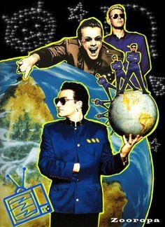 Random Promotion And Poster Art Adam Clayton, U2 Zooropa, Larry Mullen Jr., Dublin, U2 Achtung Baby, Bono Vox, U2 Songs, Irish Rock, Living Legends